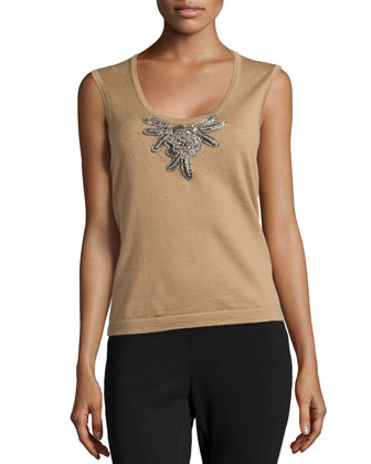 Floral-Embroidered Cashmere Tank Top