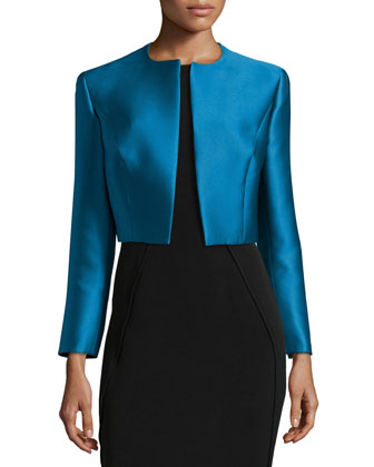 Satin Fitted Cropped Open Jacket