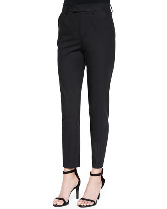 Cropped Tab-Front Slim Pants