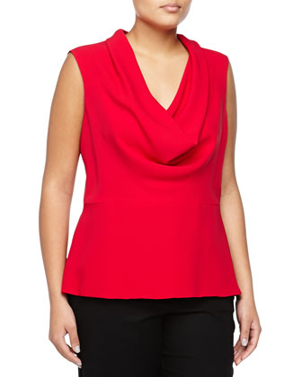 Silk Sleeveless Cowl-Neck Blouse, Ruby
