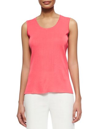 Scoop-Neck Knit Tank, Papaya