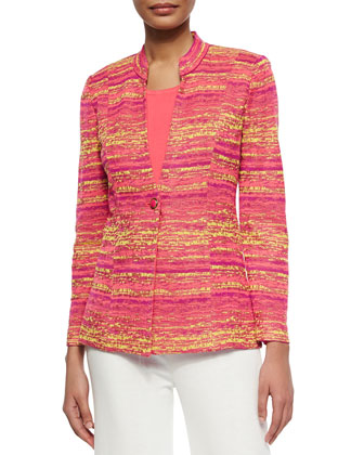 Horizontal Melange One-Button Jacket, Petite