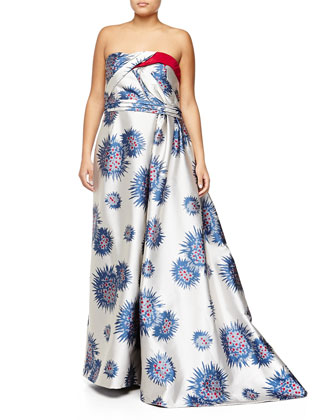 Strapless Mum-Print Ball Gown