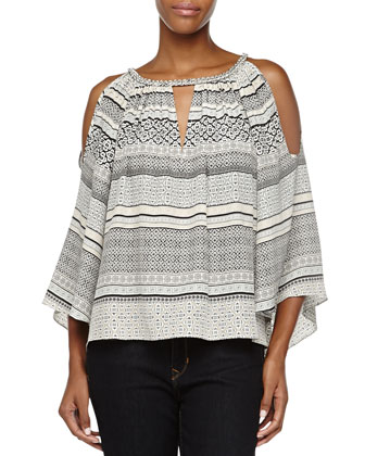 Printed Cold-Shoulder Loose Top