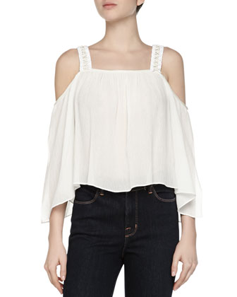 Tiff Open-Shoulder Voile Top
