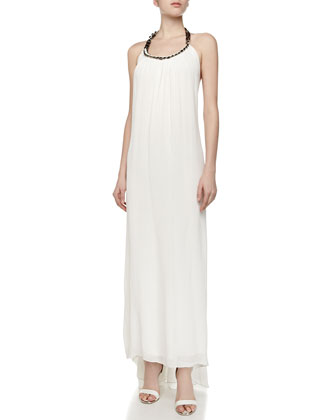 Taryn Chain-Neck Halter Maxi Dress