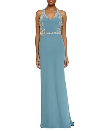 Sleeveless V-Neck Halter Beaded Gown