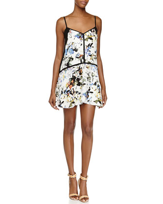 Linda Floral-Print Silk Dress, White/Multicolor
