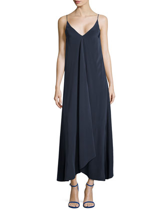Silk Handkerchief-Hem Maxi Dress