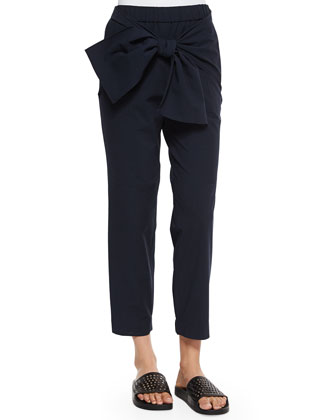 Seersucker Bow-Front Jogging Pants