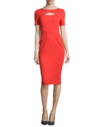 Short-Sleeve Keyhole Dress, Poppy