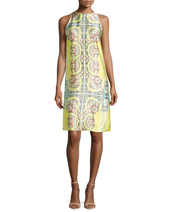 Sleeveless Medallion-Print Shift Dress, Sunburst