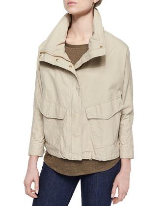 Boxy Washed Canvas Coat & Studded-Shoulder Short-Sleeve Top