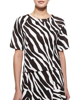 Ghanzi Zebra-Print Short-Sleeve Top