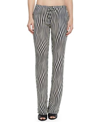 Olsen Bandeau Swim Top, Mixed-Print String Bottom & Zebra-Stripe Pants