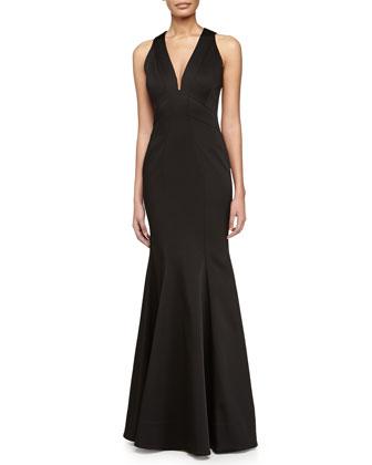 Sirena Sleeveless V-Neck Gown, Black