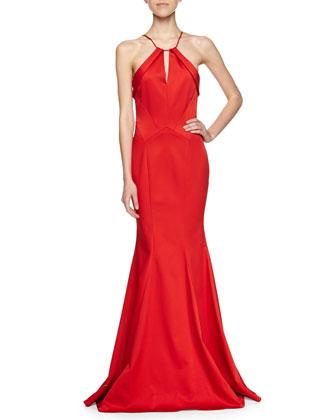 Salma Satin Ball Gown, Poppy