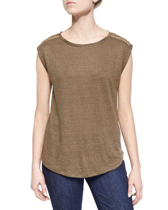 Studded-Shoulder Short-Sleeve Top
