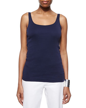 Organic Linen Long-Sleeve Top, Slim Tank & Linen-Blend Cargo Ankle Pants, ...