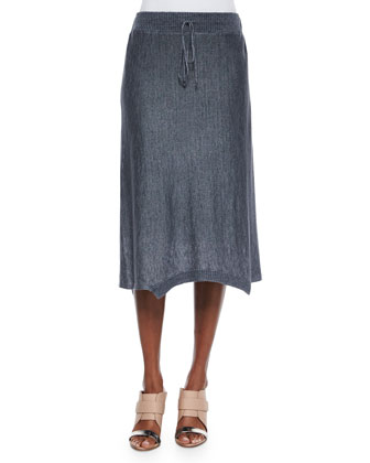 Drawstring Knee-Length Linen Skirt