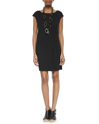 Silk Cap-Sleeve Layering Dress, Petite