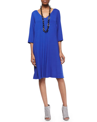 V-Neck Shaped 3/4-Sleeve Dress, Women's