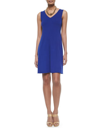 V-Neck Shaped Jersey Dress, Petite