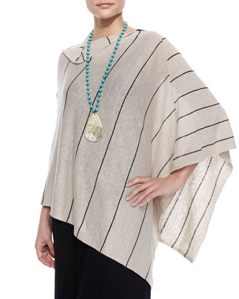 Organic Linen Pinstripe Poncho & Floor-Length Jersey Dress, Women's