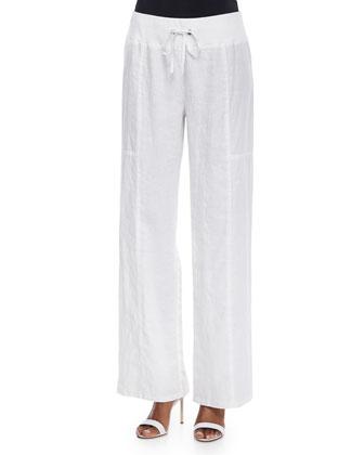 Organic Linen Wide-Leg Pants, Women's