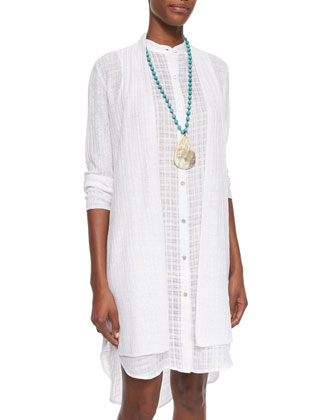 Fine-Ribbed Long Cardigan & Mandarin-Collar Open Weave Shirtdress
