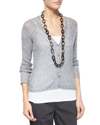 Speckled Button-Front Cardigan, Organic Cotton Slim Tank, Jacquard Borders ...
