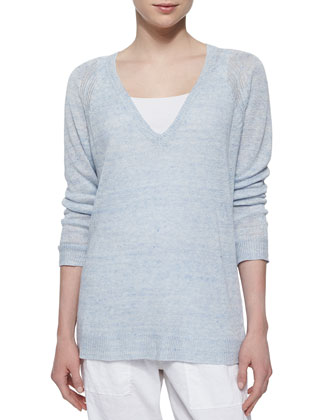 Long-Sleeve Speckled Linen Tunic, Organic Cotton Slim Tank, Cloudy Linen ...