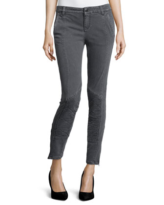Denim Moto-Stitch Leggings, Charcoal