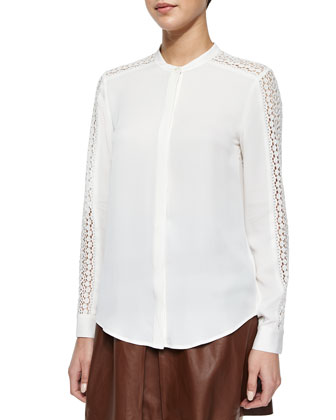 Lace-Trim Silk Top
