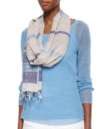 Mandarin-Collar Organic Linen Top, Jacquard Borders Scarf & Organic Stretch ...