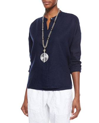 Mandarin-Collar Organic Linen Long-Sleeve Top, Midnight, Women's