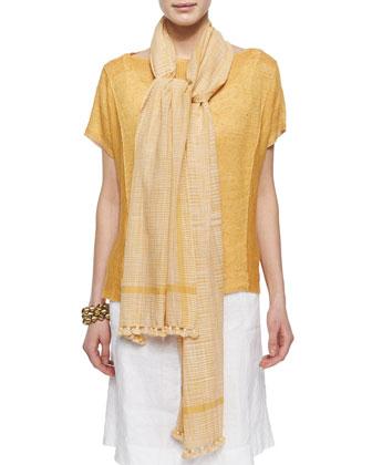 Short-Sleeve Organic Linen Top, Ikat Plaid Pom Pom Scarf & Organic Linen ...