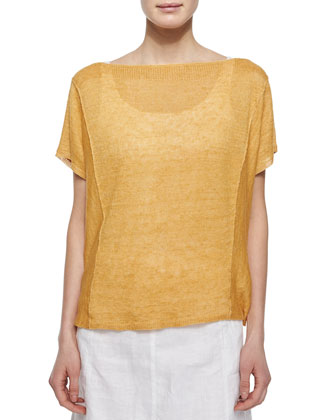 Short-Sleeve Organic Linen Top