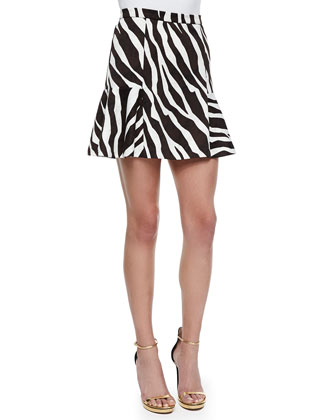 Ghanzi Zebra-Print Flounce Skirt