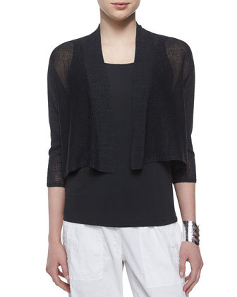 3/4-Sleeve Kimono Cardigan, Stretch Silk Long Cami & Linen-Blend Cargo ...