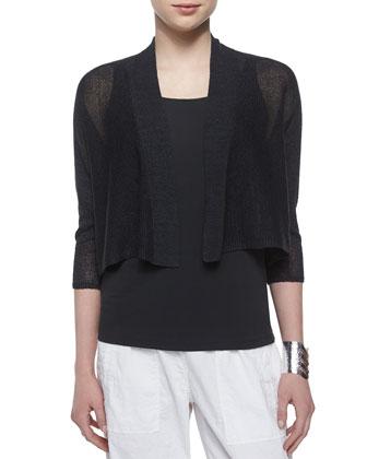 3/4-Sleeve Kimono Cardigan, Graphite, Women's