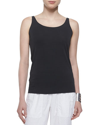 Silk Jersey Long Slim Camisole, Graphite, Women's