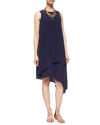 Double-Layer Silk Dress, Midnight, Women's