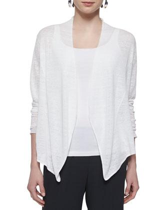 Cascading-Front Linen-Blend Cardigan, Silk Jersey Long Slim Camisole & Silk ...