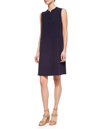 Mandarin-Collar Sleeveless Henley Dress