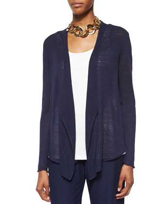 Cascading-Front Linen-Blend Cardigan, Stretch Silk Long Cami & ...