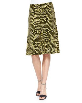 Godet Printed Jersey Skirt