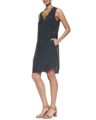 Sleeveless Two-Way-Zip Silk Dress, Petite