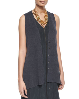 Polished Linen Long Vest & Sleeveless Two-Way-Zip Silk Dress