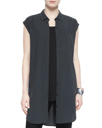 Silk Layering Tunic/Dress, Long Silk Jersey Tunic & Stretch-Crepe Ankle Pants